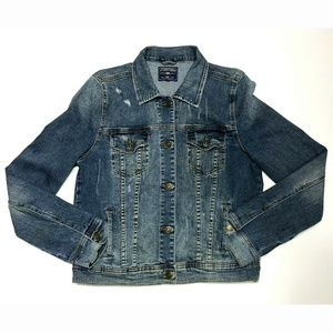 Just USA Med Faded & Distressed Jean Jacket GUC